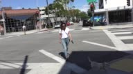 Robin Tunney walks her dog while shopping in Beverly Hills in Celebrity Sightings in Los Angeles