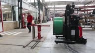 AGV Robofasts and AGV Easybots are tested in the Automatismos y Sistemas de Transporte Interno SAU factory in Madrigalejo del Monte Spain on Tuesday...