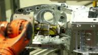 Robot Welding On Car Body Close-up