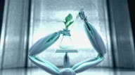 CGI MS robotic arms lifting vial containing plant stem and injecting glowing substance