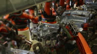 Roboter Schweißen auf dem Auto-Ansicht von oben