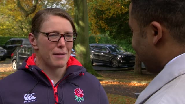 Rochelle Clark becomes England's most capped player Clark holding rugby ball Clark interview SOT Clark talking to reporter