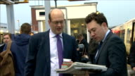 UKIP victory Mark Reckless at Strood train station ENGLAND Kent Strood Station EXT Mark Reckless MP boarding train to travel to London / Mark...