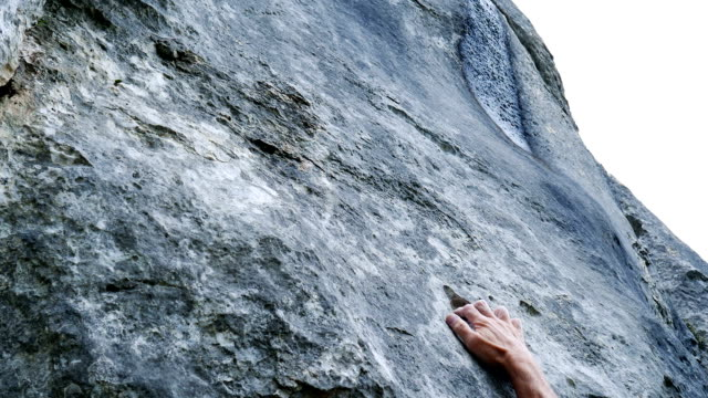 Rock Climber Searching For Hold (4K/UHD to HD)