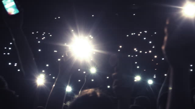4K MONTAGE - Rock Concert Stadium Show Crowd Mobile Phone Lights