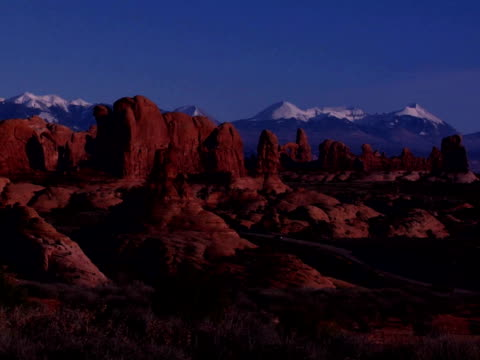 Rock formations and mountains in Arches National Park, Moab, Utah