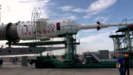 A rocket to carry a Russian Soyuz spacecraft was installed at a launch pad at the Baikonur Cosmodrome in Kazakhstan on July 20 2015 Japanese...