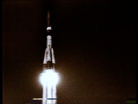 Rockets in space Russian space program Rocket launch Brezhnev attending with hosts
