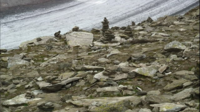 Rocks are strewn on the mountainside near Aletsch Glacier.