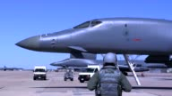 Rockwell B1 Lancer at Dyess AFB talking to crew chief
