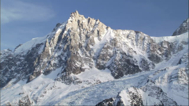 Rocky peaks tower above snow covered mountain ranges in the French Alps Available in HD.
