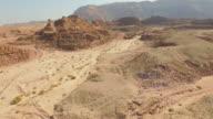 Rocky ridge in the desert. Aerial view.