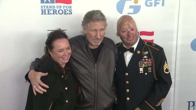 Roger Waters Staff Sgt Robert Henline US Army NYCF Veterans Airlift Command and guests at The 6th Annual Stand Up For Heroes Presented by The New...