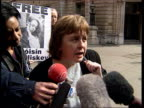 Refused bail ITN ENGLAND London Bow Street Bernadette McAlisky speaking to press Germans should withdraw their opposition to bail Van carrying...