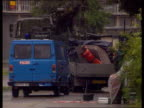 Refused bail LIB GERMANY Osnabruck Lorry used in mortar attack on British Army base towed into base
