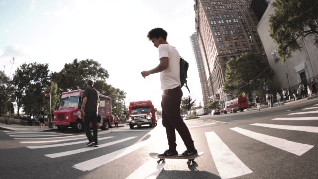 B Roll of a skateboarder in the streets of New York City