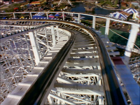 Roller coaster point of view around curve
