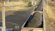 Rolling train carriages filled with coal