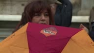 AS Roma football fans gather in front of the city hall of the Italian capital to ask mayor Virginia Raggi to authorize the construction of the new...