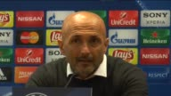 Roma Head Coach Luciano Spalletti speaks during a press conference following the UEFA Champions League round of 16 first leg match between AS Roma...
