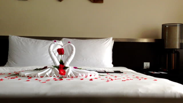 Romance towel on he bed