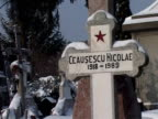 Romanian dictator Nicolae Ceausescu and his wife Elena's remains were exhumed Wednesday for DNA tests a move meant to dispel one of the mysteries...