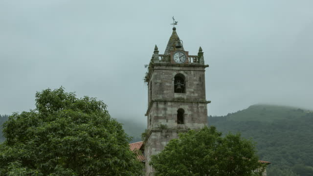 Romanic Church of Teran town, Santander, Cantabria - Time lapse