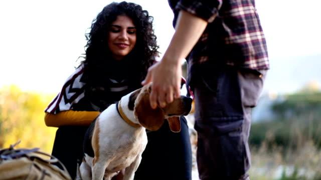 Romantisches Paar und süße Beagle Hund