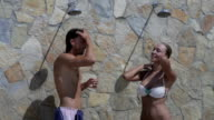 Romantic couple at pool