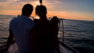MS Romantic Couple Sailing At Sunset