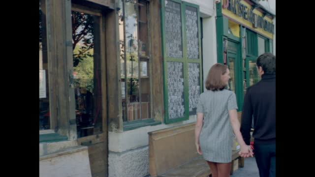 Romantic couple walking the streets of Montmartre in Paris.