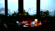HD: Romantic Dining Table with cityscape background