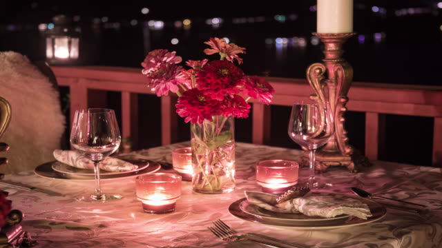 Romantic Table for Two At Night. Al Fresca