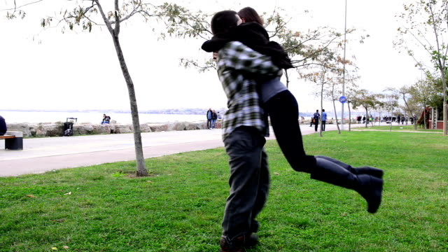 Romantic young couple hugging in Istanbul