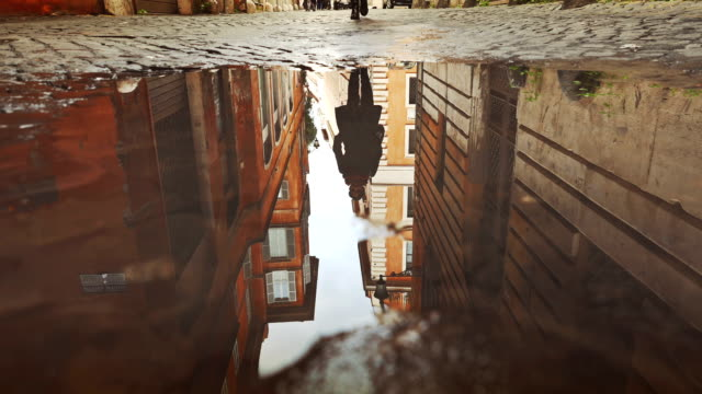 Rome buildings reflected in puddle water