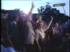 Ronald And Nancy Reagan Wave To Chicago Crowd on August 18 1980 in Chicago Illinois