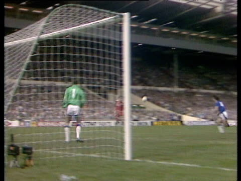 Ronnie Whelan sprints up left wing checks inside crossing to Ian Rush at back post Rush controls with deft touch before powering into net beating...