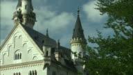 CU TU Roof and tower of Neuschwanstein Castle, Bavaria, Germany