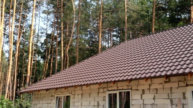 Roof of the house is covered with metal roofing.