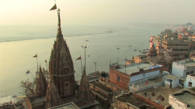 WS, HA, Rooftops and Ganges river in distance, Varanasi, Uttar Pradesh, India