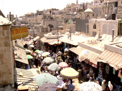 Rooftops of busy street market in Jerusalem