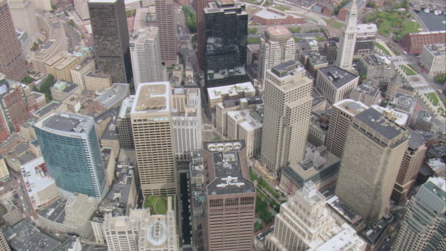 AERIAL Rooftops of downtown skyscrapers / Boston, Massachusetts, United States