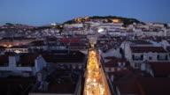 WS HA Rooftops of old town at dusk / Lisbon, Portugal