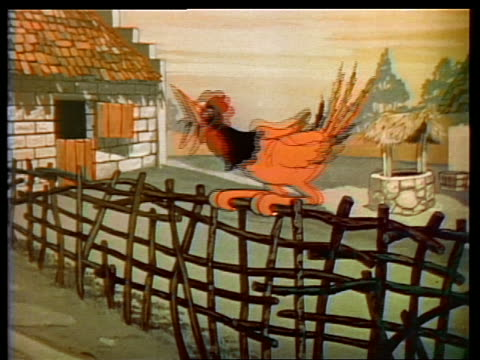 1935 ANIMATED rooster crowing on fence with exaggerated neck stretch / smiles + looks proud