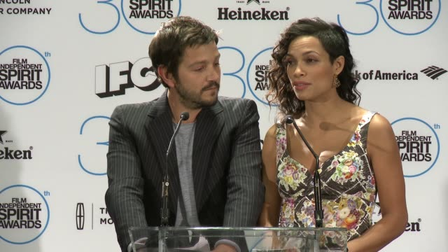 SPEECH Rosario Dawson and Diego Luna at The 30th Film Independent Spirit Awards Nominations Press Conference in Los Angeles CA on