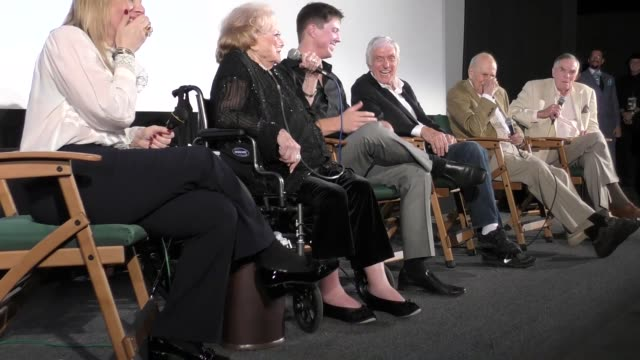 Rose Marie Dick Van Dyke Carl Reiner and Peter Marshall at the Viewing QA of Rose Marie Wait For Your Laugh at Aero Theatre in Santa Monica Celebrity...