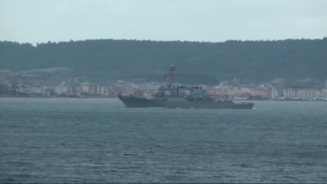 Ross with 71 bow number 154 m long battleship and belonging to the US navy passes through the Dardanelles Strait in Canakkale Turkey on December 17...