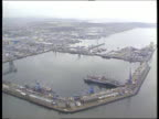 Fife Rosyth Naval Dockyard AIRV Rosyth naval base AIRV Ditto MS Bow of destroyer moored in base LMS Sailors along on ship in yard LMS Ditto