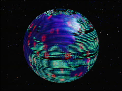 CGI rotating blue globe with binary numbers flashing on circuit board surface / stars in background