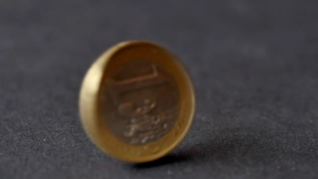 Rotating Coin Of One Euros With Letter Side